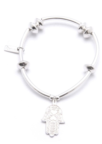 ChloBo Noodle & Disc Bracelet With Hamsa Hand Charm - Silver main image