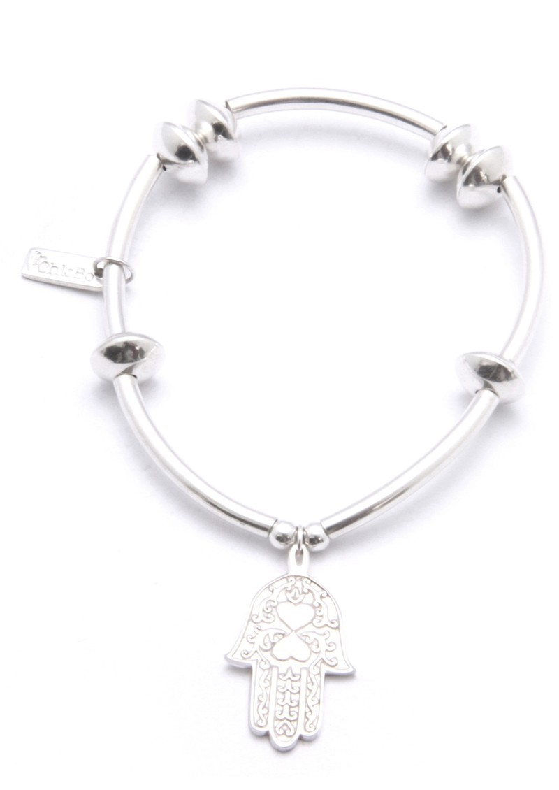 ChloBo Noodle & Disc Bracelet With Hamsa Hand Charm - Silver main image