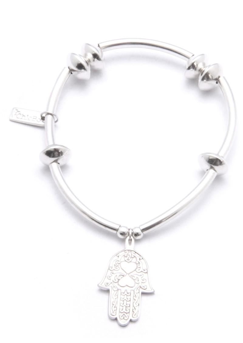 Noodle & Disc Bracelet With Hamsa Hand Charm - Silver main image