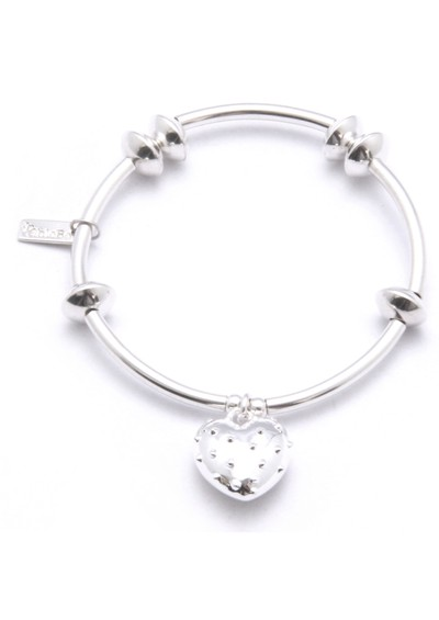 ChloBo Noodle & Disc Bracelet With Studded Heart Charm - Silver main image