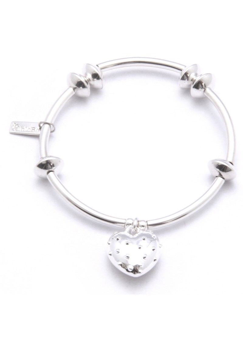 Noodle & Disc Bracelet With Studded Heart Charm - Silver main image