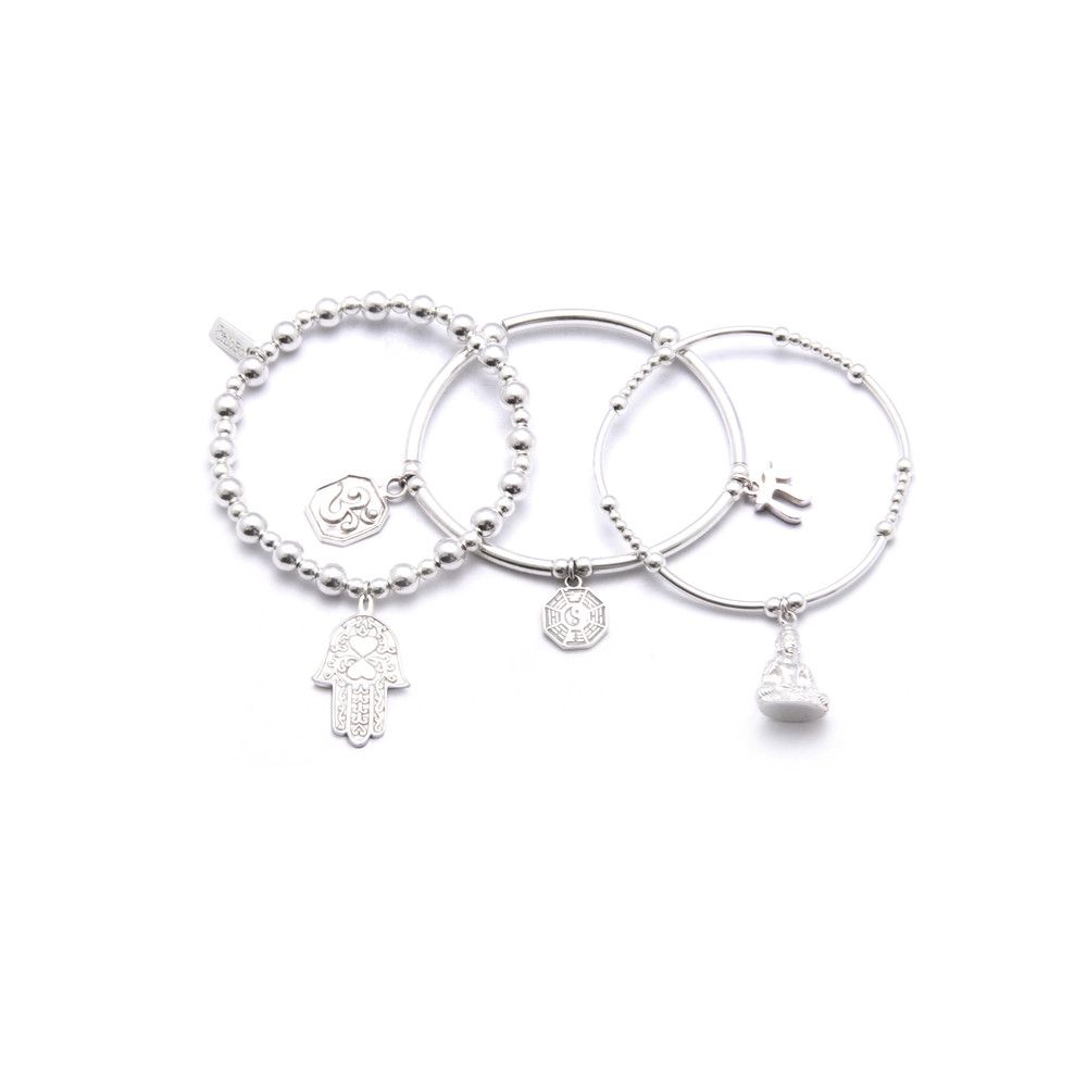 Set Of 3 Karma Bracelets - Silver