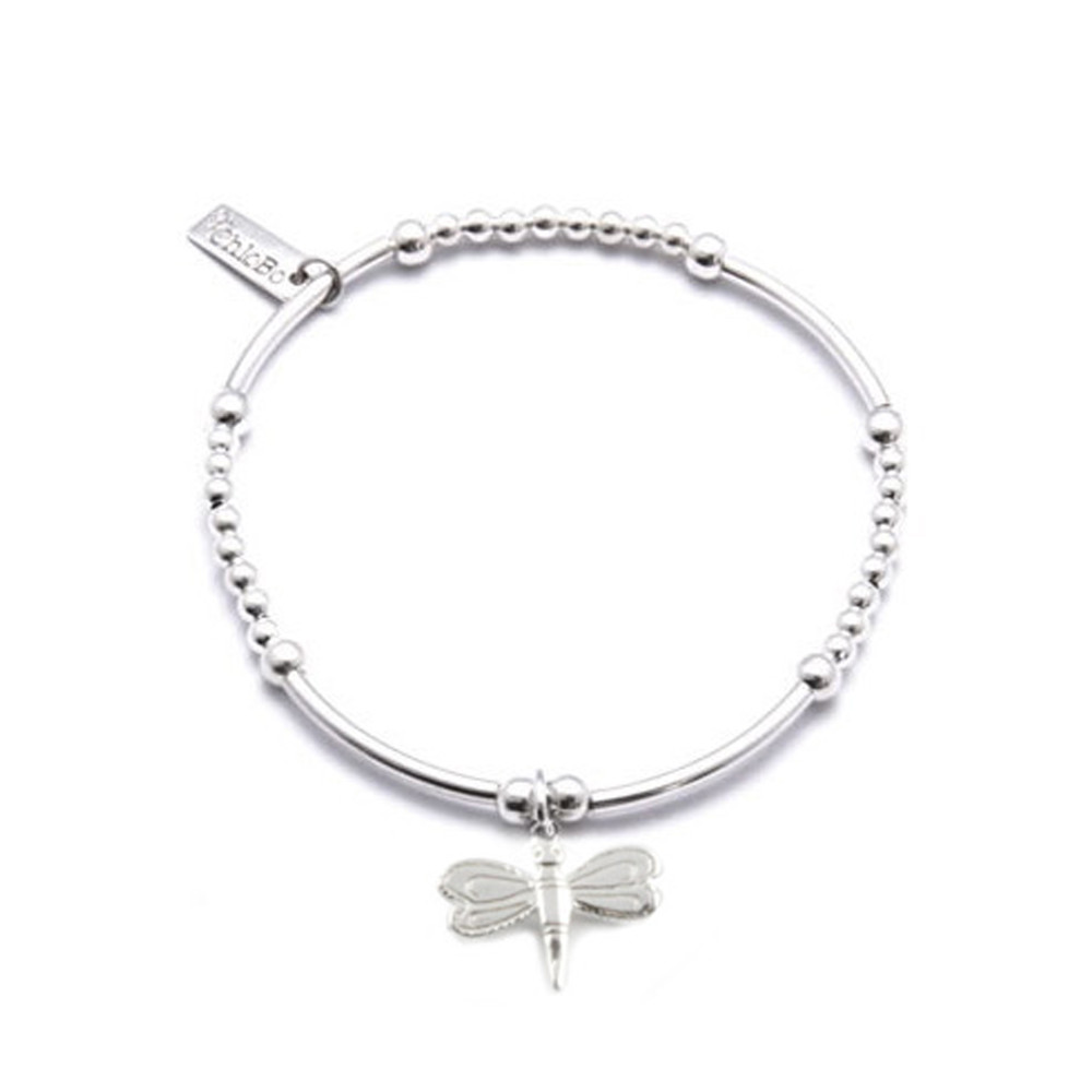 Cute Mini Bracelet With Dragonfly Charm - Silver