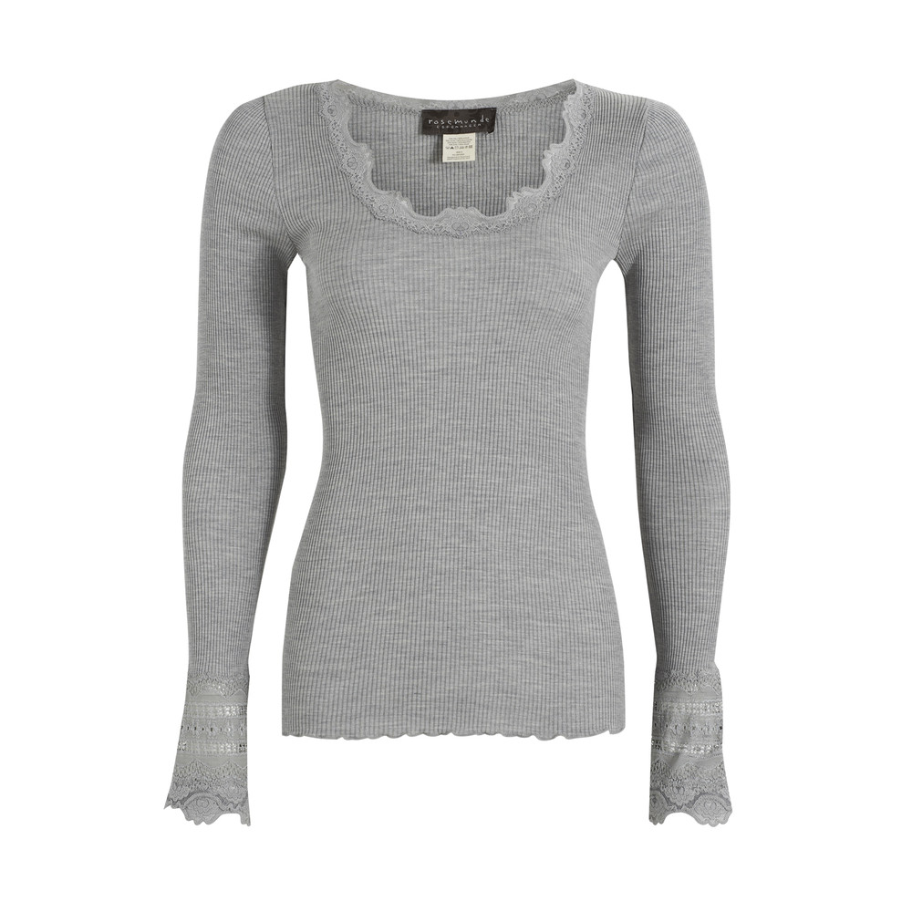 Long Sleeved Silk Blend Lace Top  Light Grey