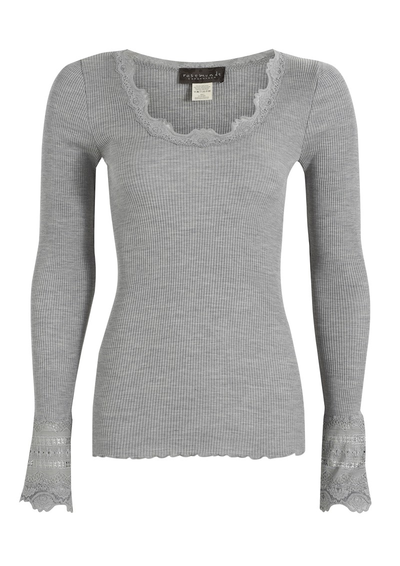 Long Sleeved Silk Blend Lace Top - Light Grey main image