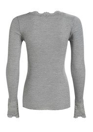 Rosemunde Long Sleeved Silk Blend Lace Top - Light Grey