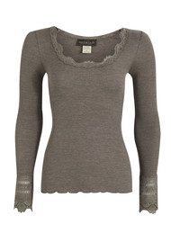 Rosemunde Long Sleeve Silk Blend Lace Top - Brown Melange
