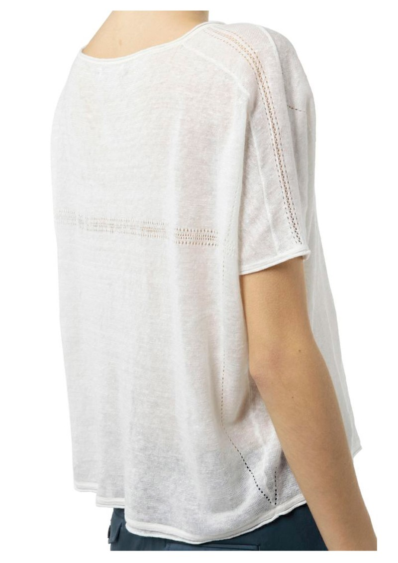 Linen 3/4 Sleeve Top - White main image