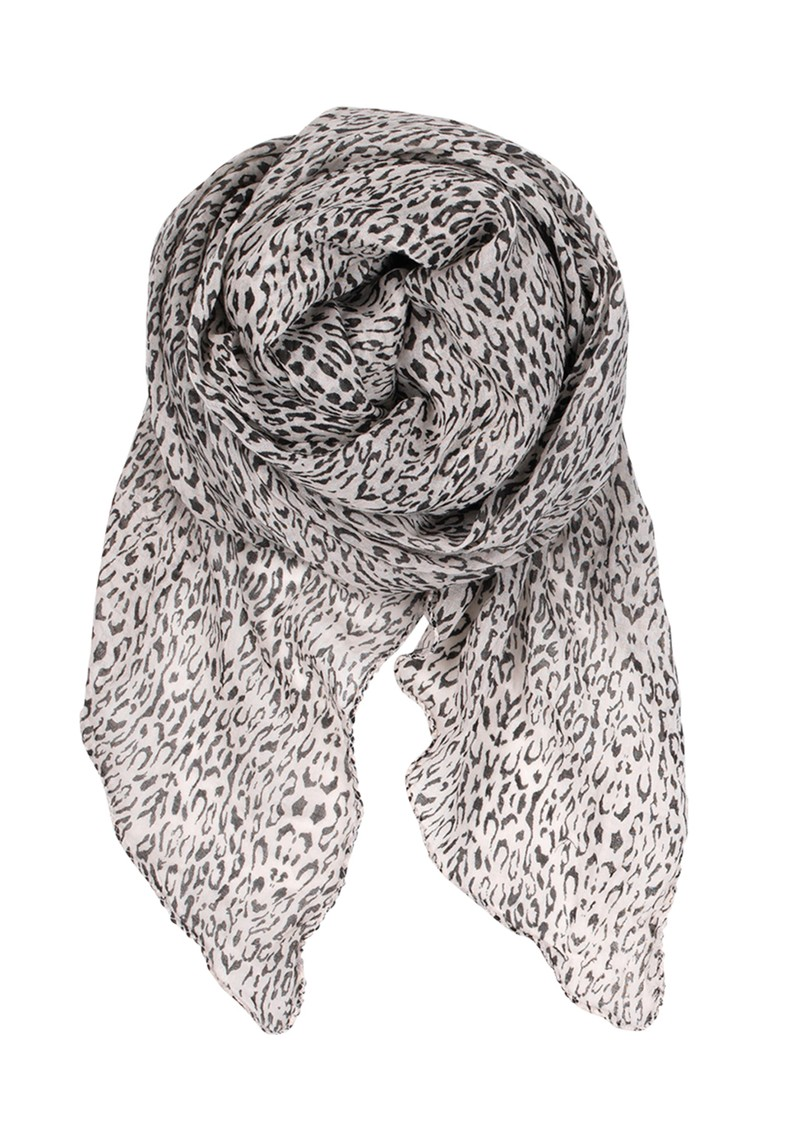 F Reflected Leo Print Scarf  - Cat Grey main image