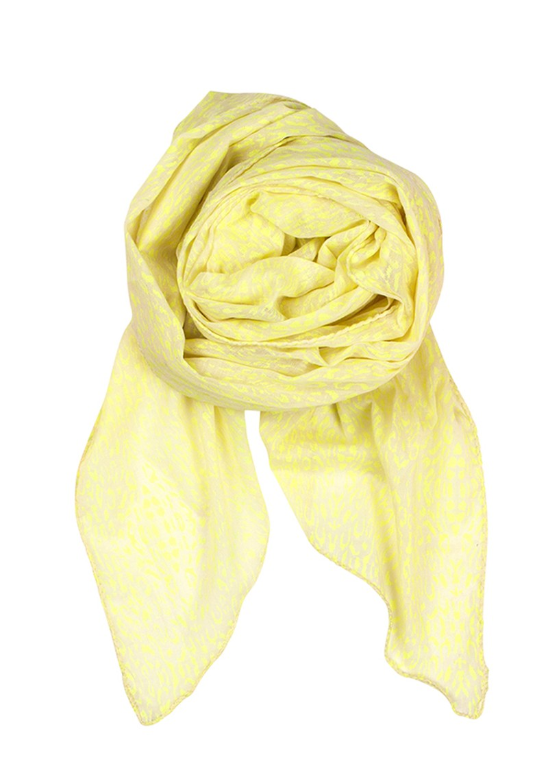 F Reflected Leo Print Scarf  - Neon Yellow main image