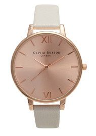 Olivia Burton Big Dial Rose Gold Plated Watch - Mink