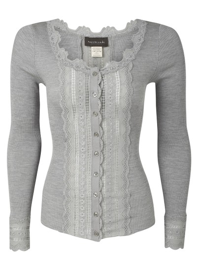 Rosemunde Long Sleeved Silk Blend Wide Lace Cardigan - Light Grey main image