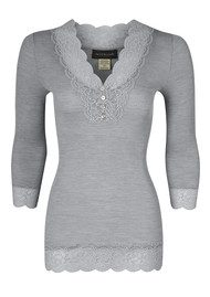 Rosemunde 3/4 Sleeve Lace Button Silk Top - Light Grey Melange