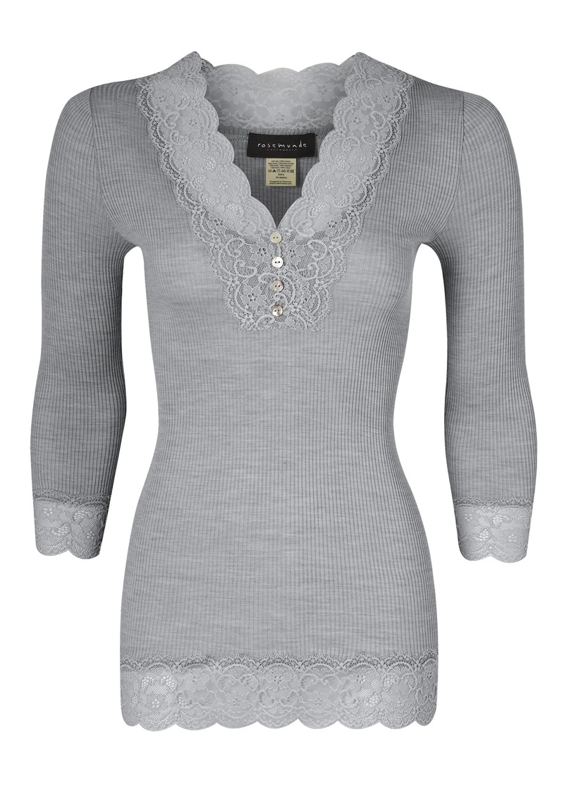 3/4 Sleeve Lace Button Silk Top - Light Grey Melange  main image