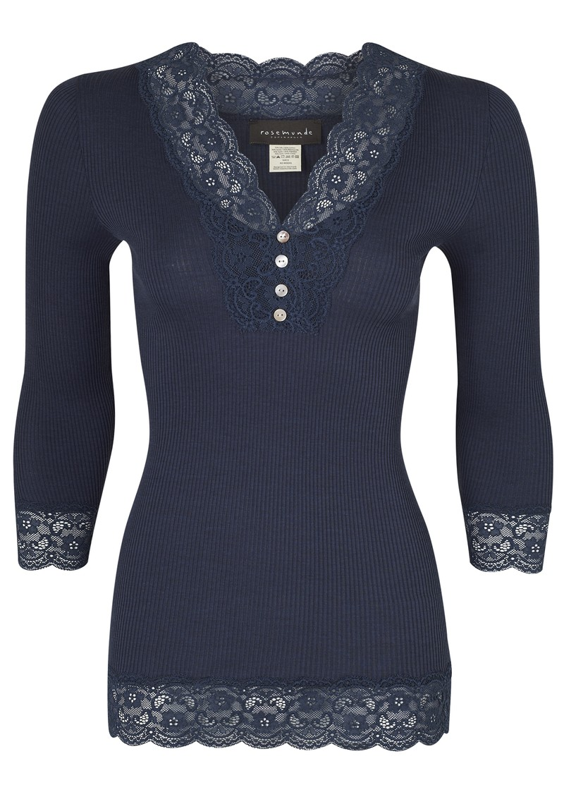 Rosemunde 3/4 Sleeve Lace Button Silk Top - Blueberry Melange  main image