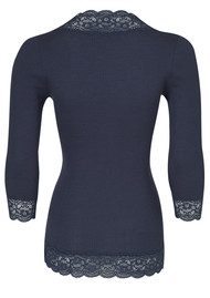 Rosemunde 3/4 Sleeve Lace Button Silk Top - Blueberry Melange