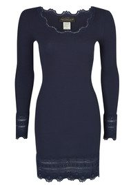 Rosemunde Long Sleeve Mid Thigh Silk Blend T-shirt - Blueberry