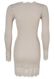 Rosemunde Long Sleeve Mid Thigh Silk Blend T-shirt - Cacao