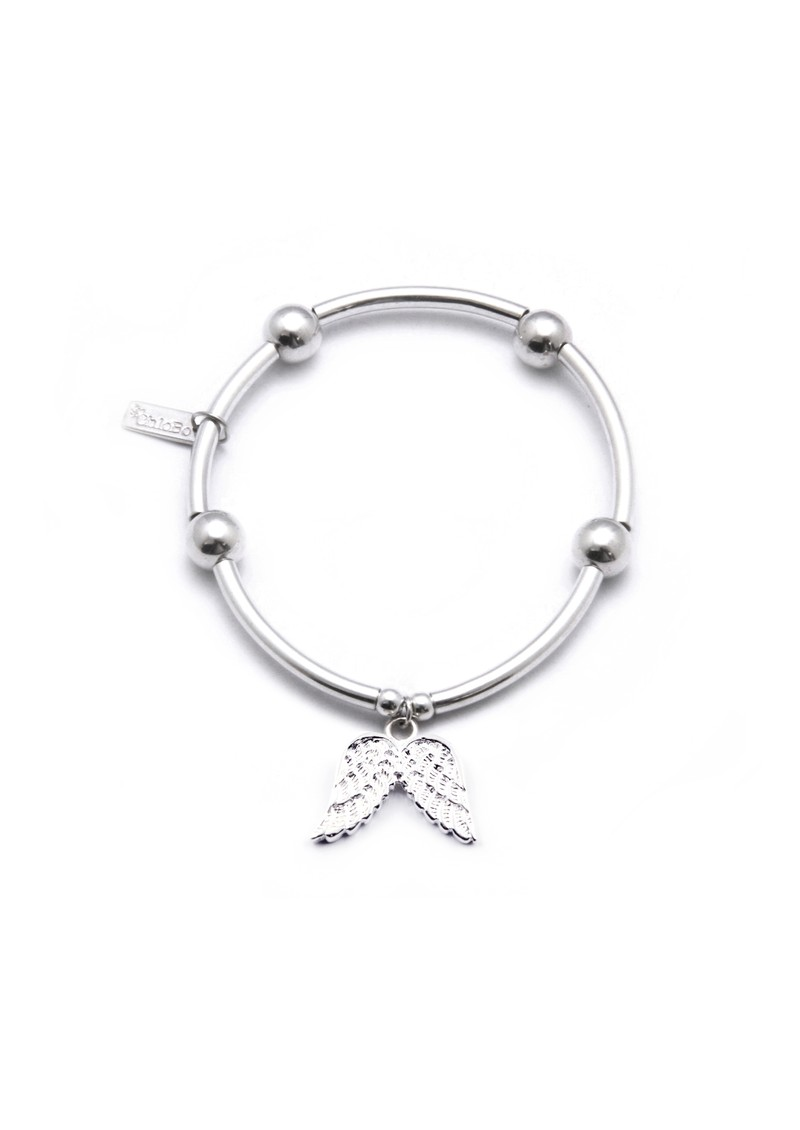 Noodle & Ball Bracelet with Angel Wing Charm - Silver main image