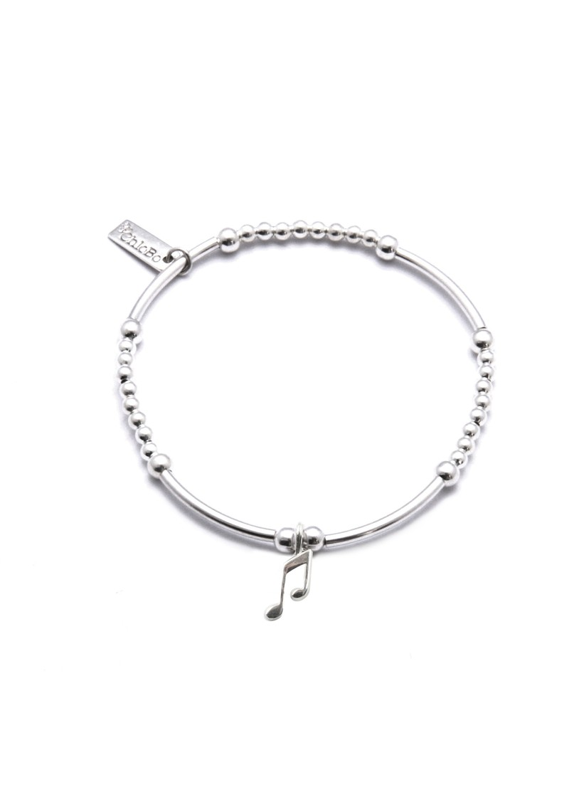 Cute Mini Bracelet With Music Note Charm - Silver main image