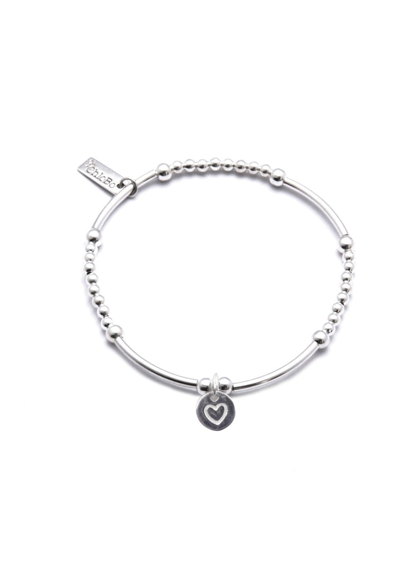 Cute Mini Bracelet With Round Heart Charm - Silver main image