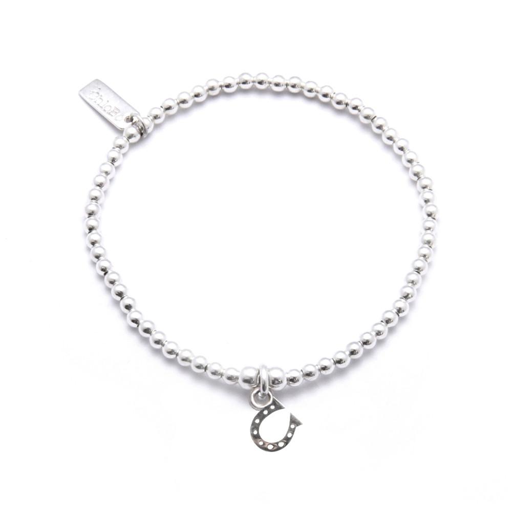 Cute Charm Bracelet with Horseshoe Charm  Silver