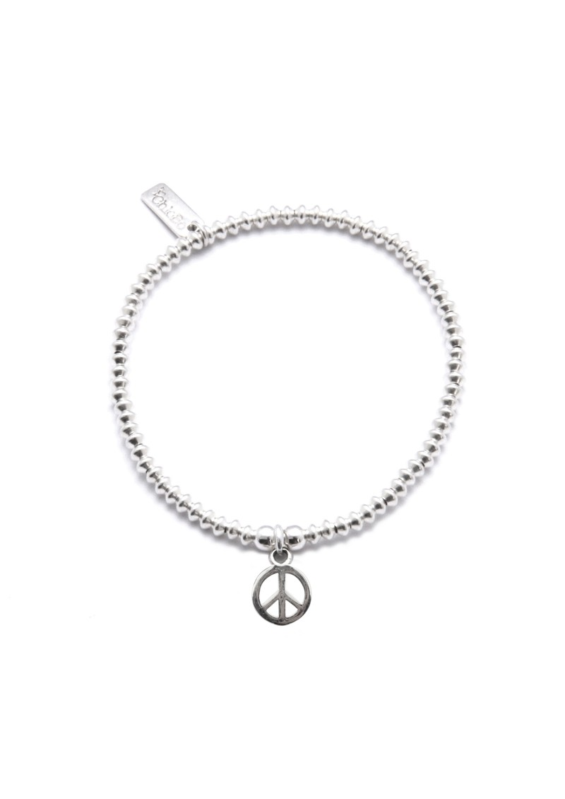 Mini Disc Bracelet with Peace Charm - Silver main image
