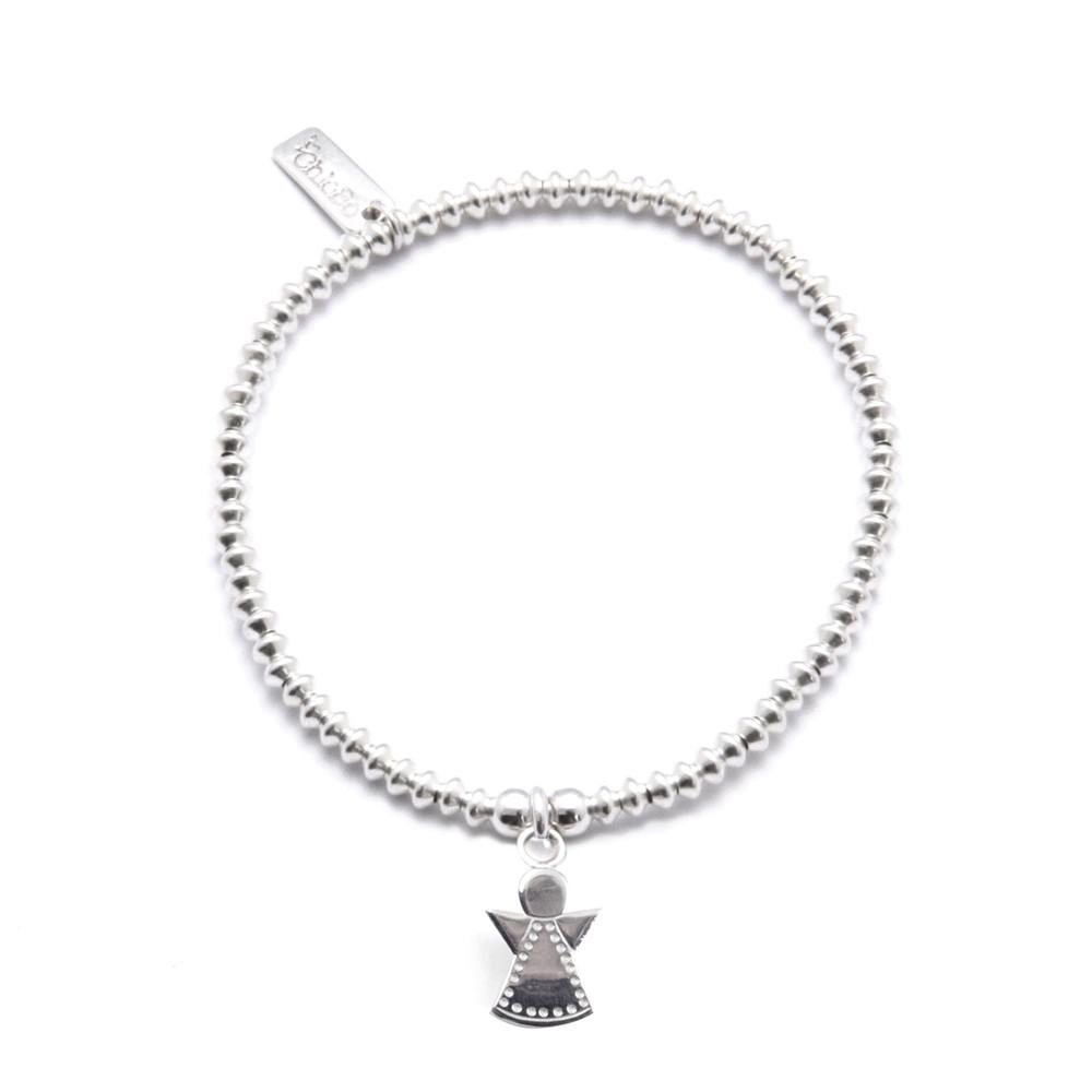 Mini Disc Bracelet With Dotty Angel Charm  Silver