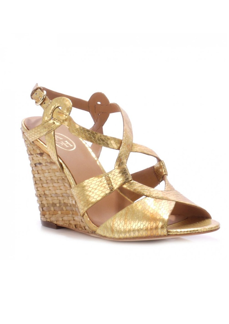 Ash Jade Viper Leather Wedge Sandals - Gold main image