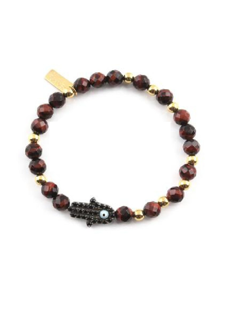Cloud 9 Red Tigers Eye Bracelet with Inset Hamsa Hand - Red & Gold main image