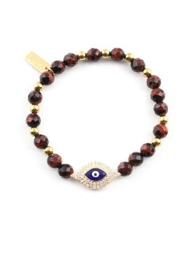 Cloud 9 Red Tigers Eye Bracelet with Inset Evil Eye - Red & Gold main image