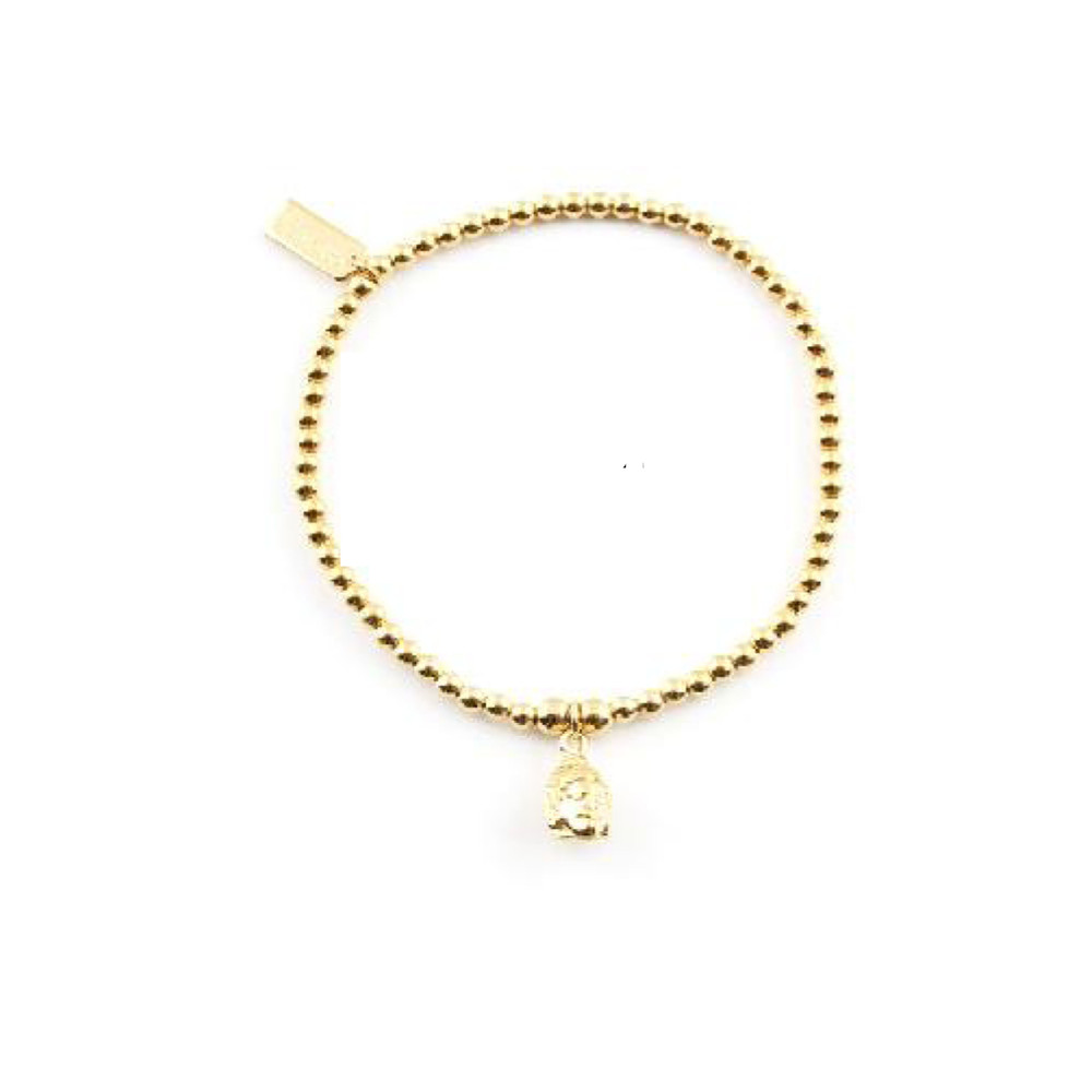 Cute Charm Bracelet with Buddha Head Charm - Gold