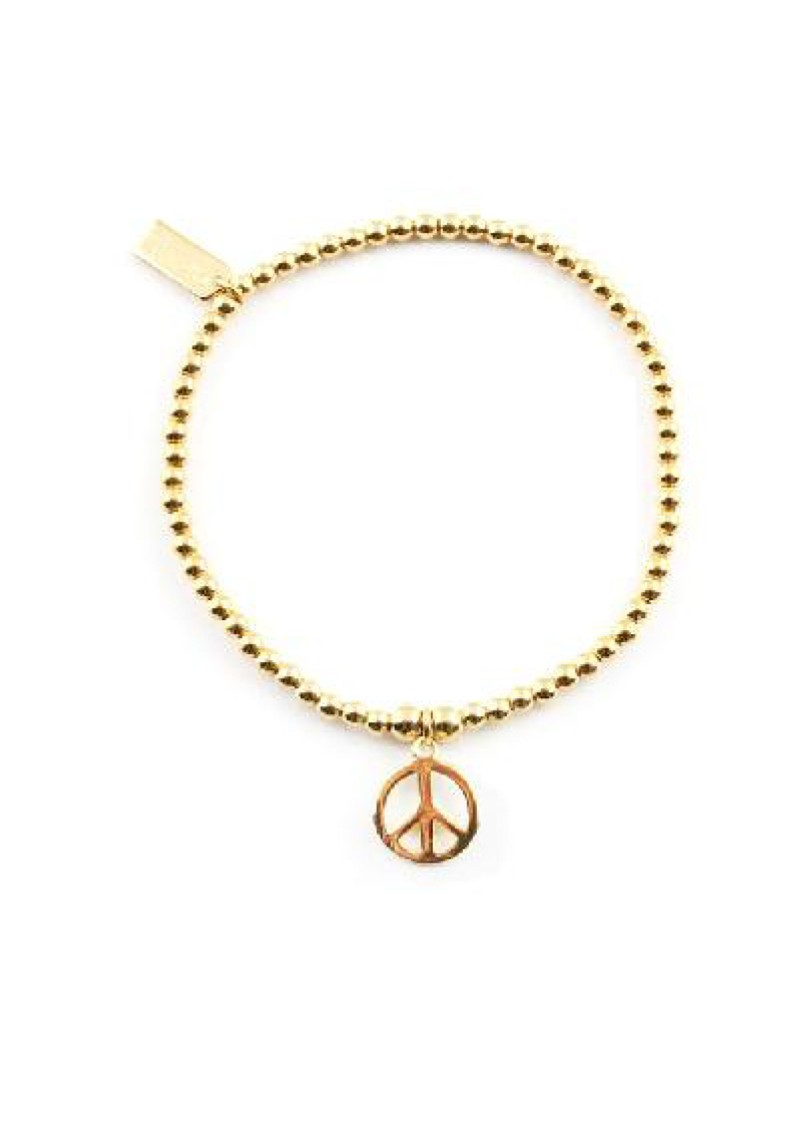 ChloBo Cloud 9 Gold Cute Charm Bracelet with Peace Charm - Gold main image