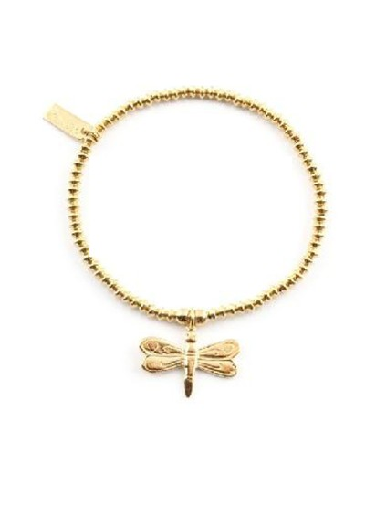 ChloBo Cloud 9 Gold Mini Disc Bracelet with Dragonfly Charm - Gold main image