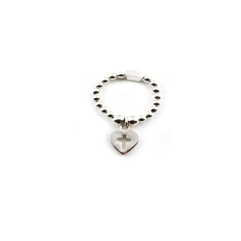 Cloud 9 Silver Ring With Cross in Heart Charm  Silver