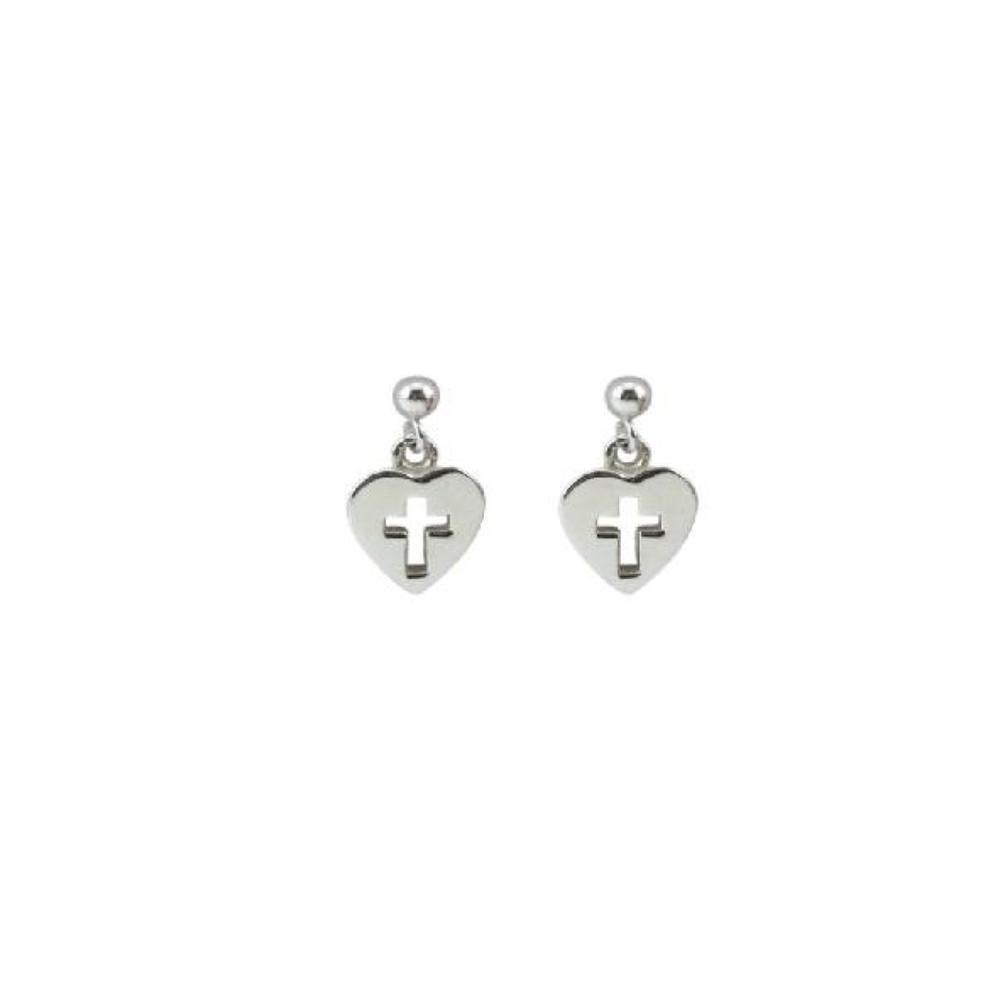 Cloud 9 Silver Cross in Heart Earrings   Silver