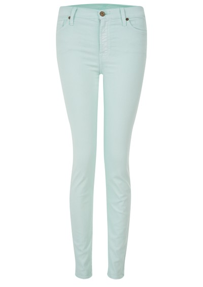 7 For All Mankind High Waisted Skinny Jeans - Green main image