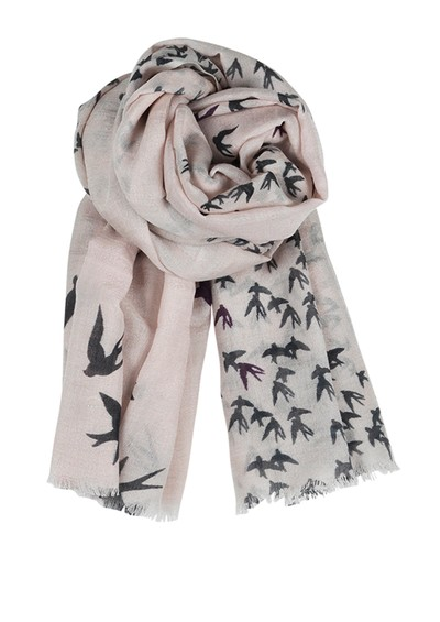 Becksondergaard F Black Birds Silk & Wool Blend Scarf - Cat Grey  main image