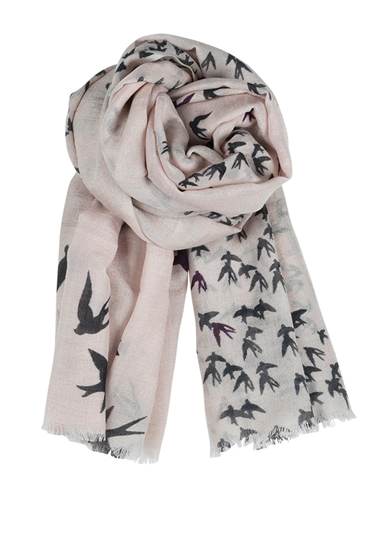 F Black Birds Silk & Wool Blend Scarf - Cat Grey  main image