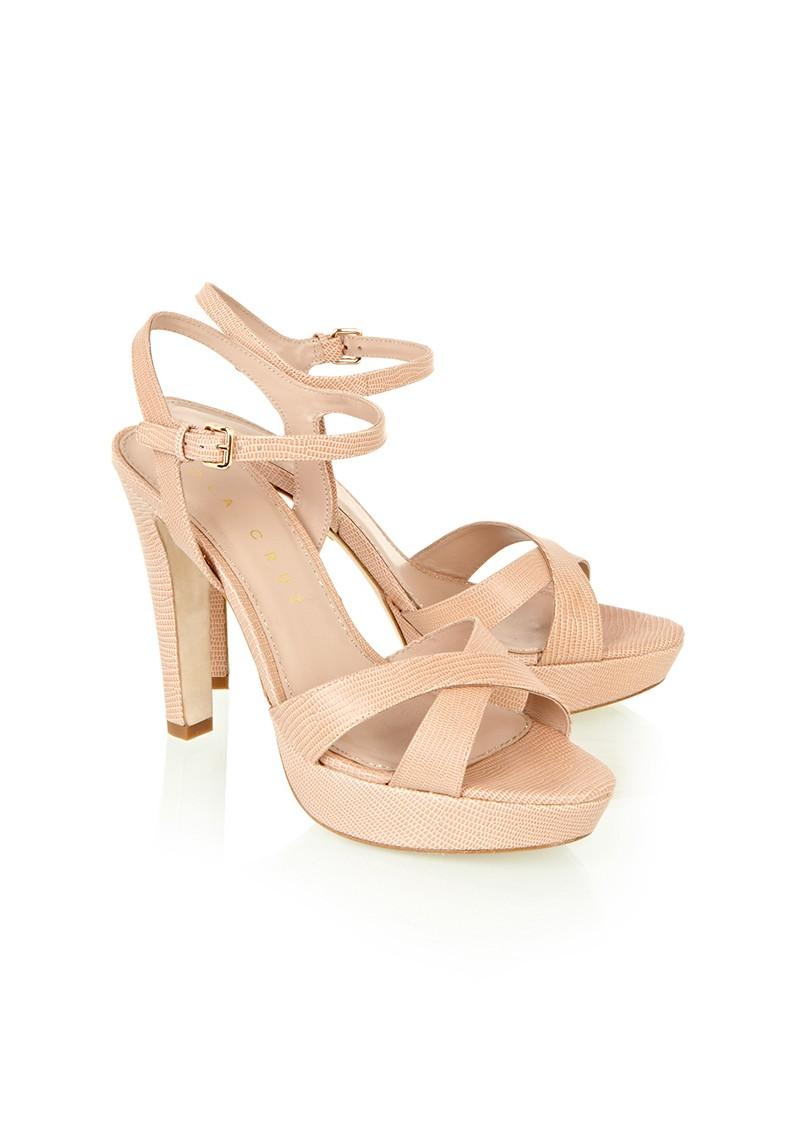 Lola Cruz Platform Open Toe Sandals - Nude main image