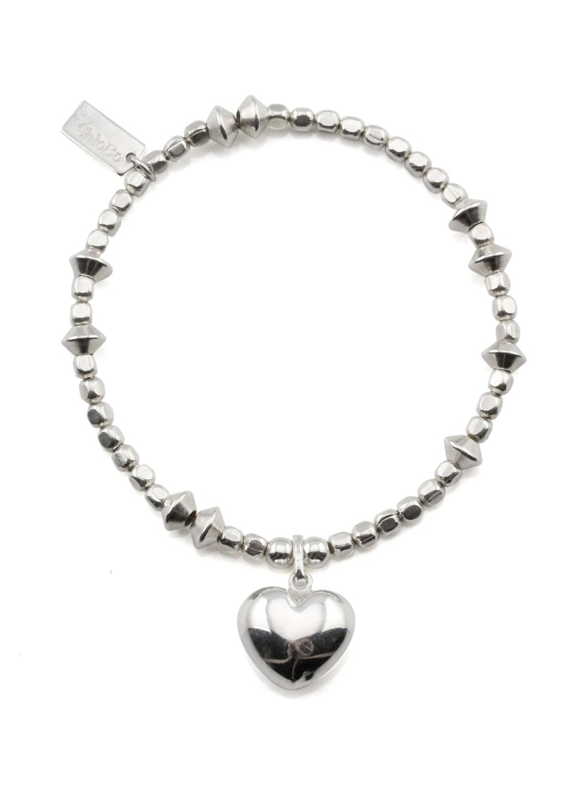 Cloud 9 Mini Cube & Disc Bracelet with Puffed Heart Charm - Silver main image