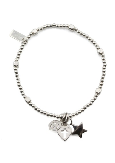 ChloBo Cloud 9 Mini Cube Bracelet with Multi Charms - Silver main image