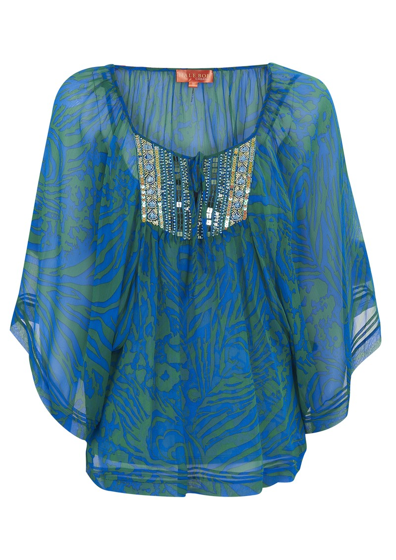 Hale Bob Zebra Silk Beaded Print Tunic - Blue main image