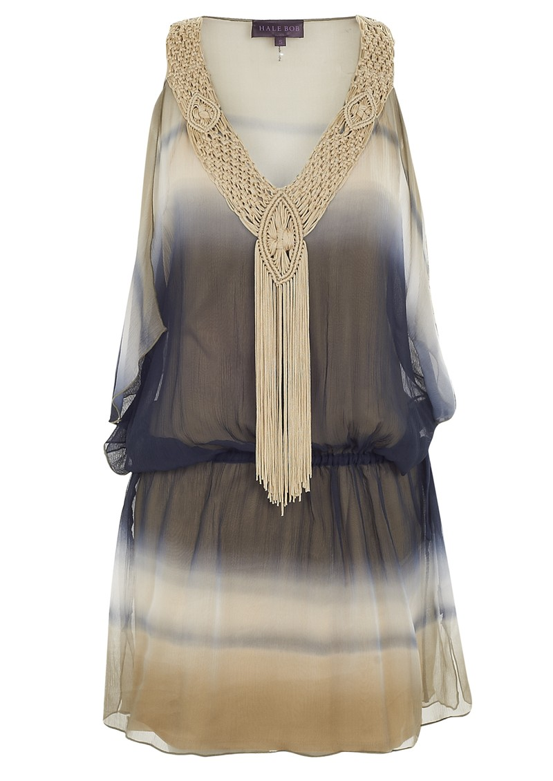Cabanna Beige Sun-Kissed Fabulous Tie Dye Silk Dress - Beige main image