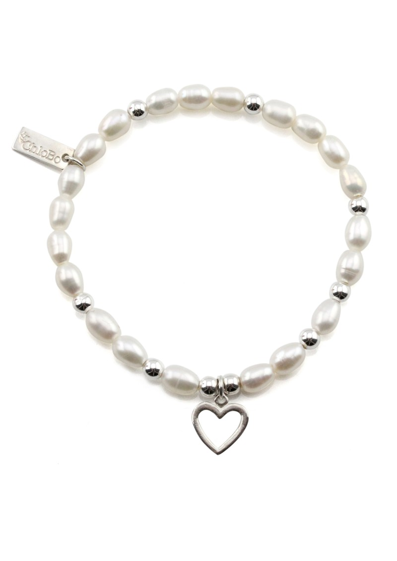 Small Pearl Bracelet with Open Heart Charm - Pearl & Silver main image