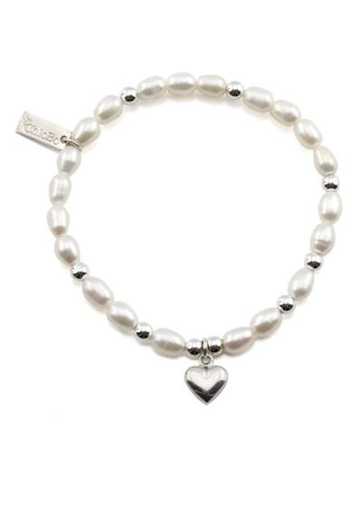 ChloBo Small Pearl Bracelet with Puffed Heart Charm - Pearl & Silver main image