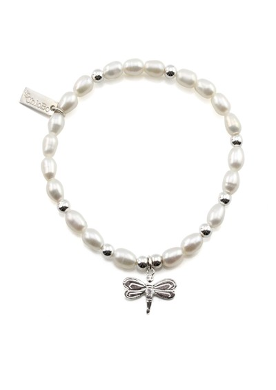 ChloBo Oystins Small Pearl Bracelet with Dragonfly Charm - Pearl main image