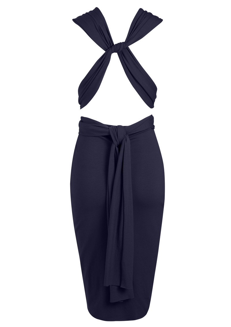 Pencil Wrap Jersey Dress - Navy main image