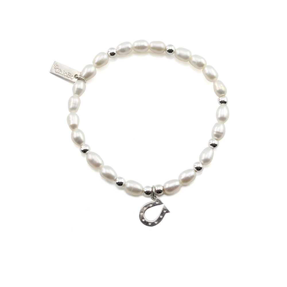 Mini Pearl Bracelet with Horseshoe Charm - Pearl