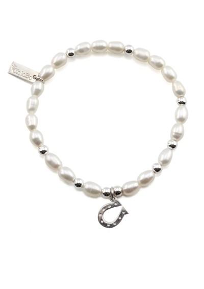 ChloBo Oystins Small Pearl Bracelet with Horseshoe Charm - Pearl main image